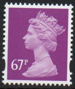 Great Britain Sc MH398 2010 67p red violet QE II Machin Head stamp mint NH