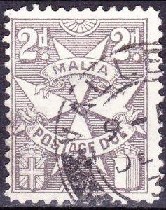 MALTA 1957 2d Grey-Brown Postage Due SGD24 FU