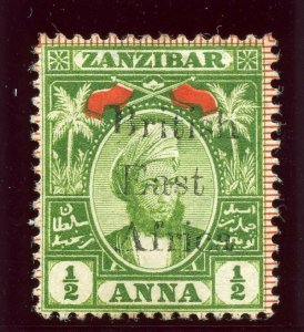 British East Africa 1897 QV ½a green & red MLH. SG 80. Sc 88