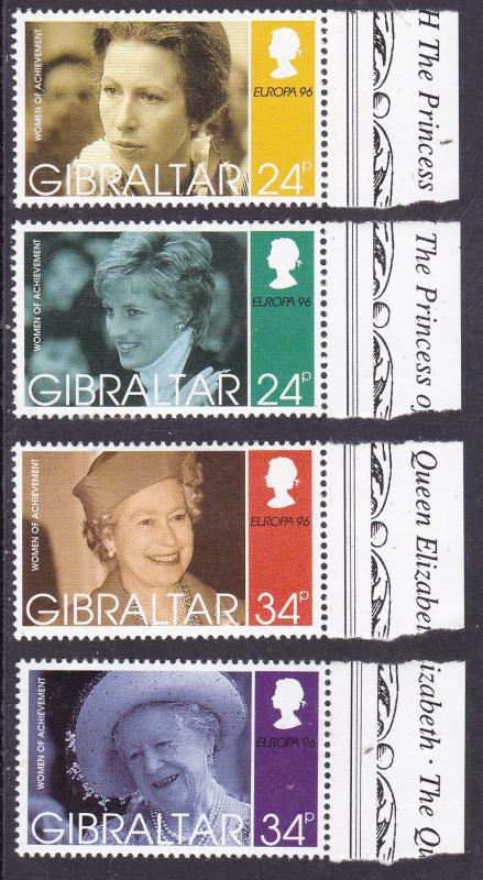 Gibralter 1996 Europa Women of The Royal Family (4) Princess Diana, Anne  VF/NH