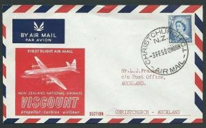 NEW ZEALAND 1958 first flight cover Christchurch to Auckland...............42982