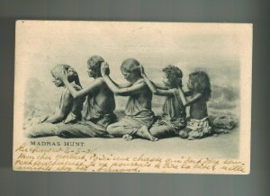 1906 India RPPC Postcard Cover to Belgium Madras Hunt Women picking Lice
