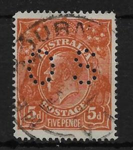 AUSTRALIA SGO60 1920 5d BRIGHT CHESTNUT OFFICIAL USED