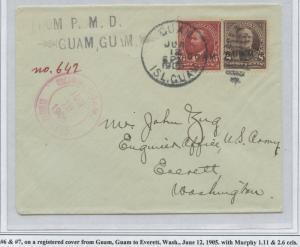 GUAM #6 & 7 ON REGISTERED COVER JUNE 12,1905 CV $900 BS8481 HS108G