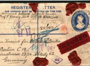 BURMA Cover *East Rangoon* REGISTERED INSURED Germany Berlin FRANKING 1922 GV143