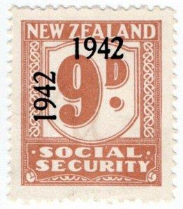 (I.B) New Zealand Revenue : Social Security 9d (1942)