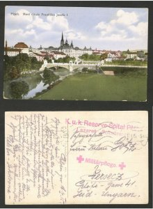 WWI HUNGARY - TRAVELED  PPC, PLZEN  - RED CROSS  - 1915.