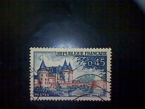 France, Scott #1009, used (o), 1961, Chateau Sully sur Loire, 45cts