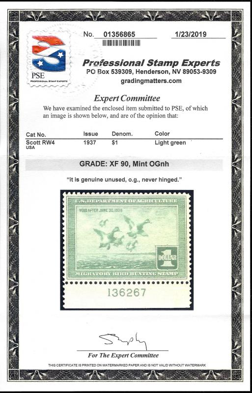 RW4 Mint,OG,NH    PSE Graded XF 90     SMQ $550 00    With
