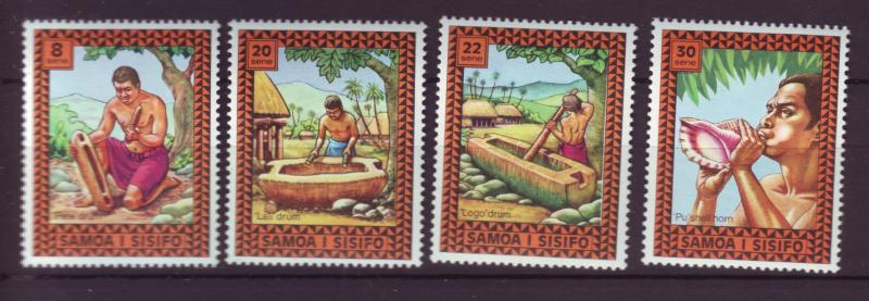 J29633 Jlstamps 1975 samoa set mnh #420-3 music drums etc