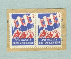 Sweden. Pair Poster Stamp  On Paper. Cancel. IOGT 1943. Godtemplar Order.