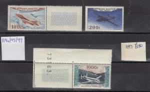 France 1954 Air Set Of 3 100f/200f/100f SG1194/95/97 MNH J7210