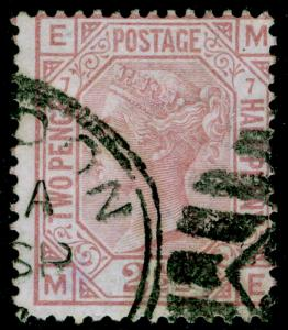 SG141, 2½d rosy mauve PLATE 7, USED. Cat £80. ME