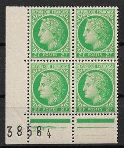1945 France Sc536 Ceres 2F MLH Plate # block of 4