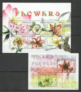 QF1789 2009 MALDIVES FLOWERS FLORA NATURE PLANTS 1KB+1BL FIX