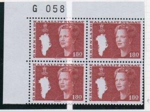 Greenland Sc 125 1982 1.80 kr Queen corner block of 4 mint NH