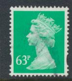 GB QE II Machin - SG Y1732   Used  63p 2 Bands