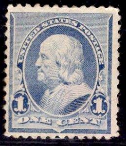 US Stamp #219 1c Blue Franklin MINT NO GUM SCV $20 (as hinged)