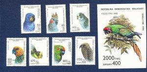 MALAGASY - Scott 1114-1121 - FVF MNH - BIRDS -  1993
