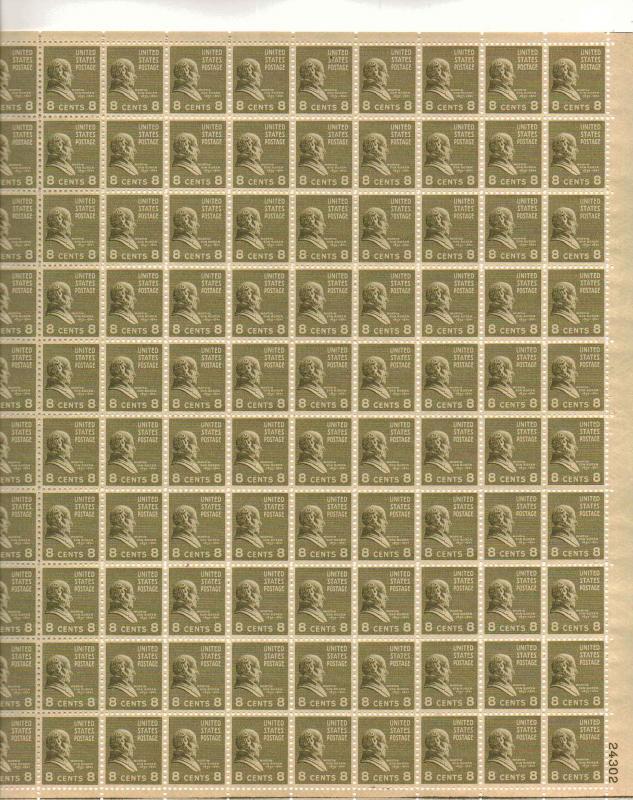 US 813 - 8¢ Martin Van Buren Unused