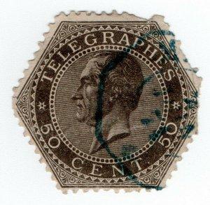 (I.B) Belgium Telegraphs : 50c Grey-Brown (1866)