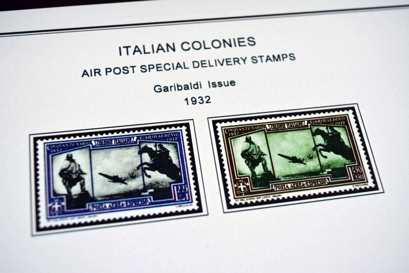 COLOR PRINTED ITALIAN COLONIES 1932-1934 STAMP ALBUM PAGES (8 illustrated pages)
