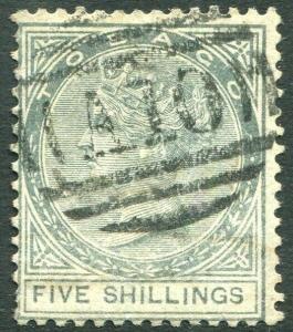 TOBAGO-1879 5/- Slate Sg 5  GOOD USED V31460
