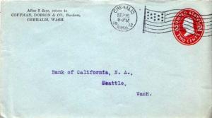 United States, Washington, Postal Stationery, Machine Cancel, Flags