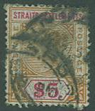 Straits Settlements SC#88 Queen Victoria , $5.00, Used