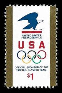 PCBstamps      US #2539 $1.00 USPS Logo & Olympics Rings, MNH, (2)