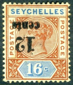 SEYCHELLES-1893 12c on 16c Chestnut & Blue SURCHARGE INVERTED. Lightly mounted