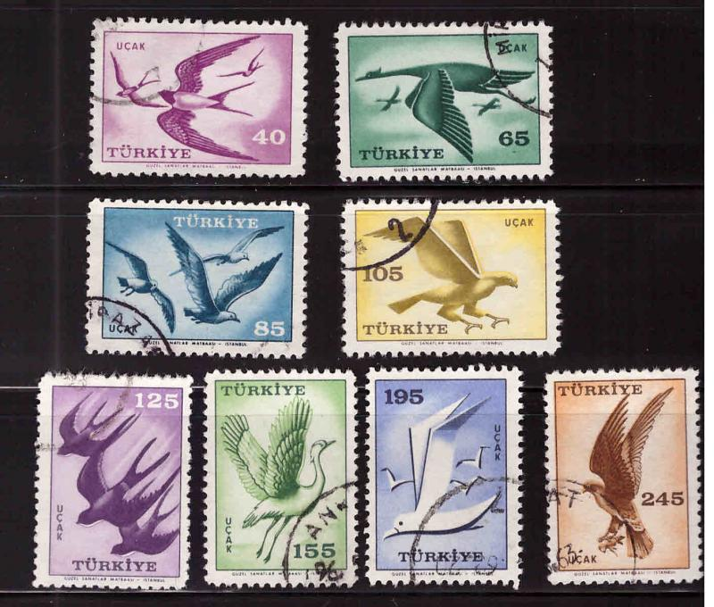 TURKEY Scott C31-C38 Used 1959 Bird Airmail set