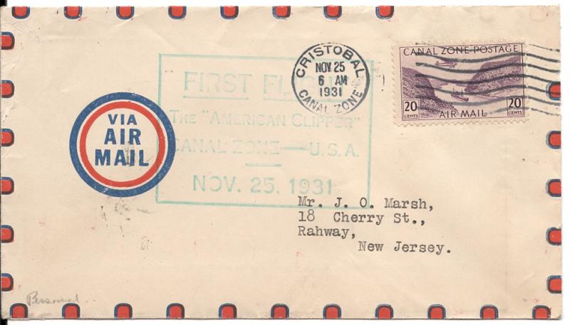CZ#C11 On American Clipper First Flight Cover from C.Z. to USA