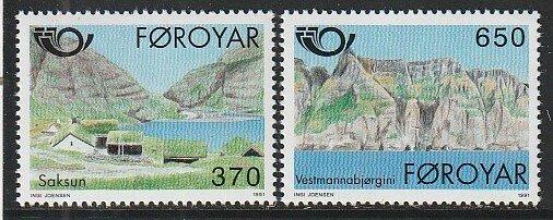 1991 Faroe Islands - Sc 226-7 - MNH VF - 2 single - Village of Saksun
