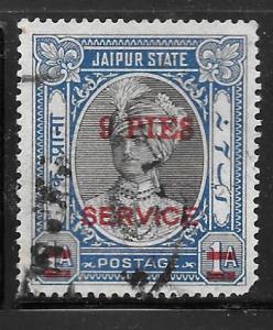 India Jaipur O30: 9p on 1a Maharaja Man Singh II, unused, NG, VF
