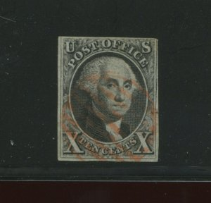 Scott 2 Washington Imperf  Used Stamp with Red Hand Stamp Cancel (STOCK 2-A4)