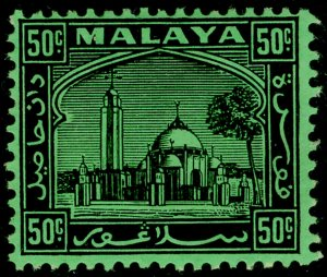 MALAYSIA - Selangor SG82, 50c black/emerald, LH MINT.