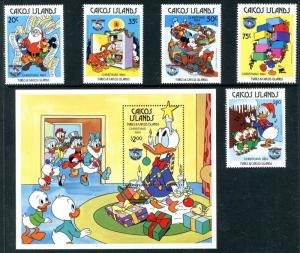 Caicos Islands 54-59 Disney characters 50th Ann of Donald Duck Christmas x14653