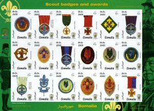 Somalia 1999 SCOUT BADGES AND AWARDS Sheet (18) Imperforated Mint (NH)