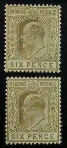 MOMEN: BAHAMAS SG #66,66a 1902-07 MALFORMED E MINT OG H £180 LOT #61888