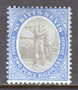 ST KITTS AND NEVIS —SCOTT 16 (SG 16) —1907 2½d ULTRA & BLACK — MH — SCV $22
