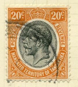 TANGANYIKA;  1927 early  GV issue fine used 20c. value, Shade
