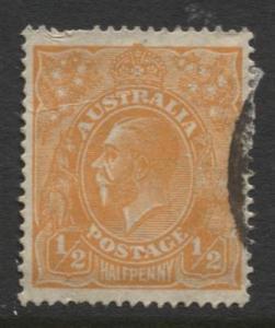 Australia - Scott 66 - KGV Head -1926 - FU - Wmk 203 - 1/2p Stamp1