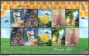 Stamps of Bosnia and Herzegovina 2013-Flora, flowers, bee, honey plants, mini-sh
