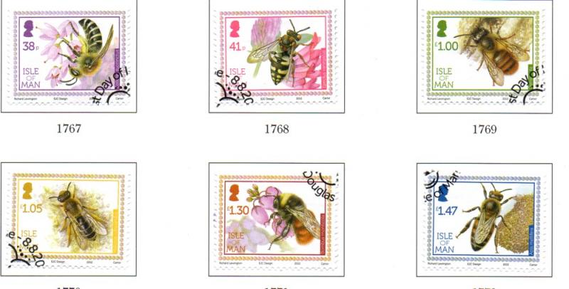 Isle of Man Sc 1513-8 2012 Bees stamp set used