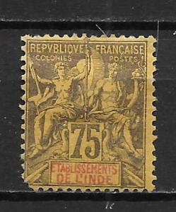 French India 18 1892-1907 75c Navigation and Commerece single MH