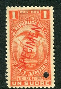 ECUADOR; Early 1900s fine Fiscal issue Mint MNH unmounted SPECIMEN 1s.