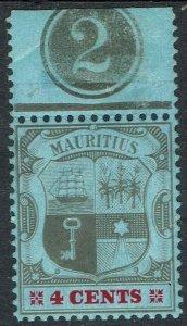 MAURITIUS 1904 ARMS 4C PLATE 2 WMK MULTI CROWN CA