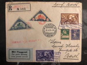 1925 Geneva Switzerland Swiss Aviation Day Cover # C6 C7 Semi Official Stamps 3