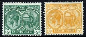 ST.KITTS-NEVIS KG V 1920-22 ½d. & 1½d. Wmk Mult Crown CA SG 24 &  SG 26 MINT
